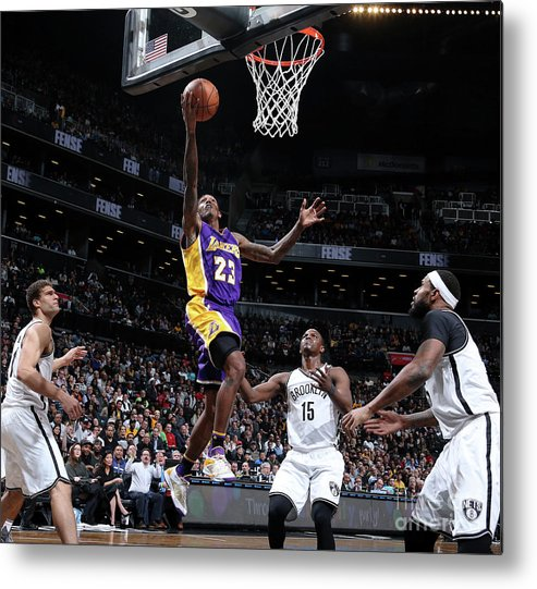 Nba Pro Basketball Metal Print featuring the photograph Los Angeles Lakers V Brooklyn Nets by Nathaniel S. Butler