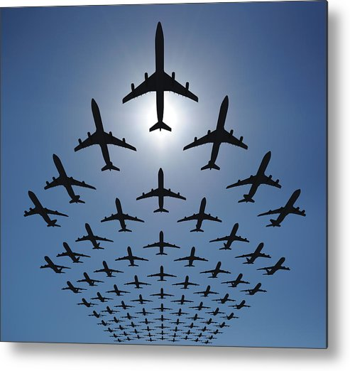 Expertise Metal Print featuring the photograph Airplane Silhouettes Fly In V Formation by Georgo
