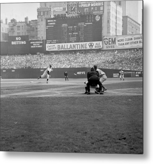 American League Baseball Metal Print featuring the photograph Allie Reynolds Of The Yankees At The by New York Daily News Archive