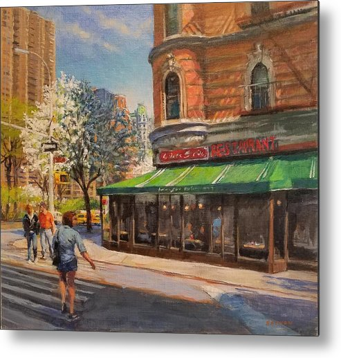 Urban Landscape Paintings Metal Print featuring the painting April Morning On Broadway by Peter Salwen