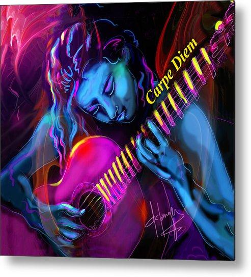 Carpe Diem Metal Print featuring the painting Blue Heart, Carpe Diem by DC Langer