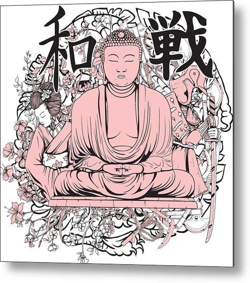 Japanese Metal Print featuring the digital art Buddha by Passion Loft