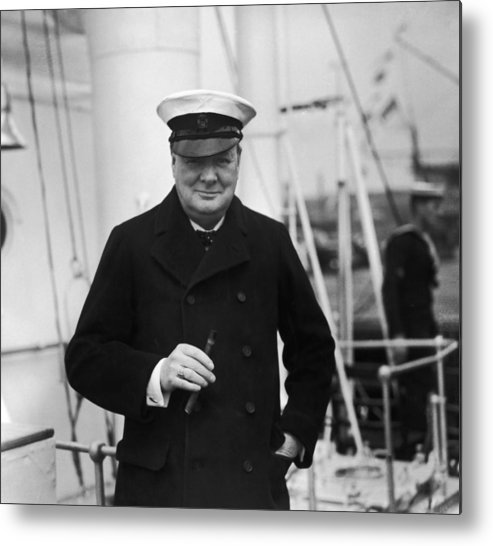 People Metal Print featuring the photograph Churchill On Ship by Topical Press Agency