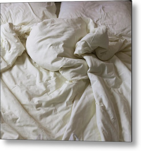 Hotel Metal Print featuring the photograph Discarded Bed, Early Morning by Julio Lopez Saguar