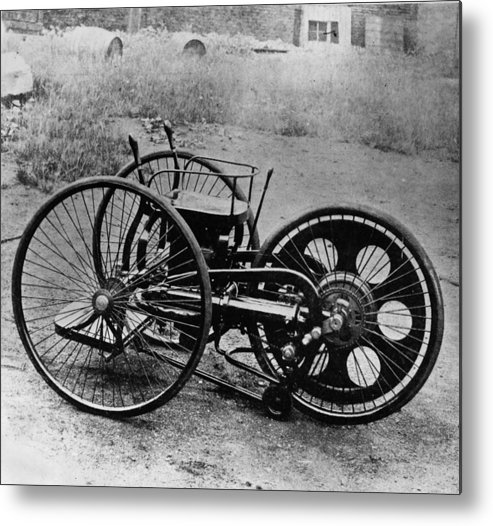 Engine Metal Print featuring the photograph First Motorcycle by Hulton Archive