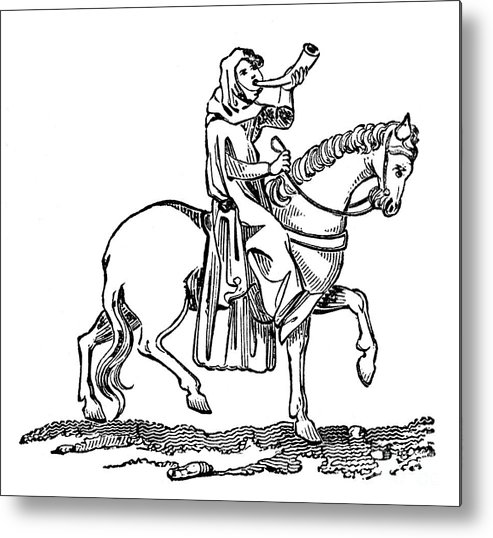 Horse Metal Print featuring the drawing Lady Blowing A Hunting Horn, 14th by Print Collector