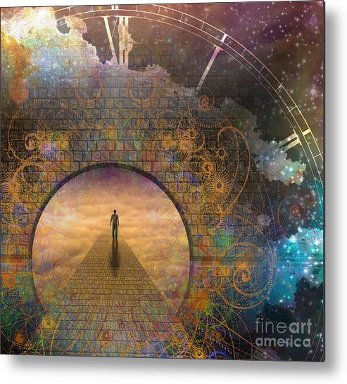 Door Metal Print featuring the digital art Man On Path And Doorway With Aged Clock by Bruce Rolff