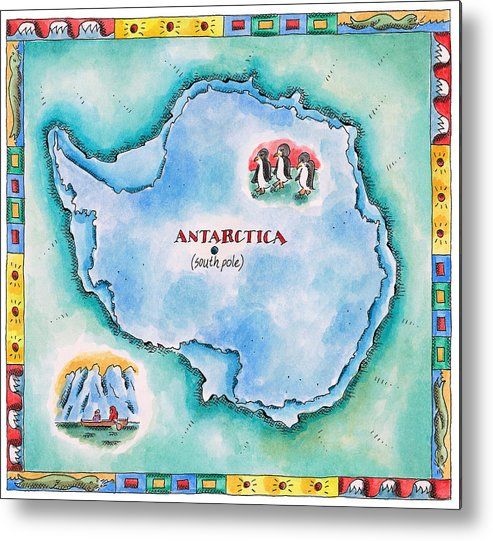 Watercolor Painting Metal Print featuring the digital art Map Of Antarctica by Jennifer Thermes