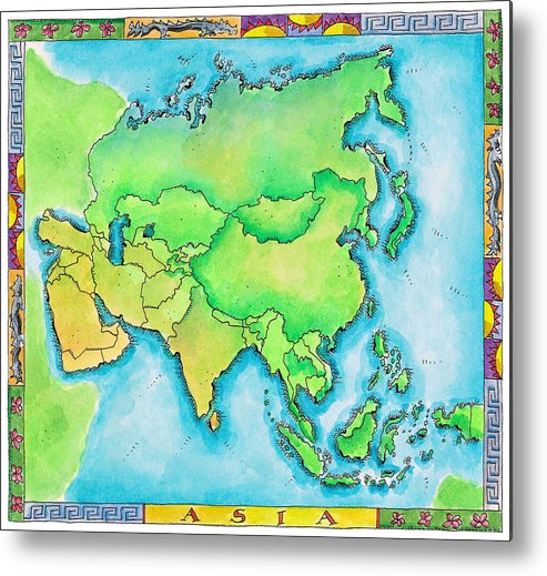 Watercolor Painting Metal Print featuring the digital art Map Of Asia by Jennifer Thermes