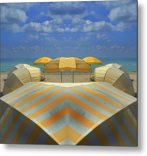 Tranquility Metal Print featuring the photograph Miami Mirror Beach by Elido Turco Photographer
