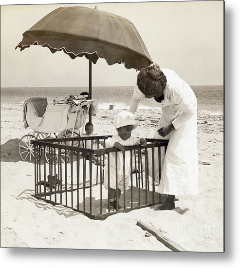 Toddler Metal Print featuring the photograph Mother With Toddler In Playpen On Beach by Bettmann