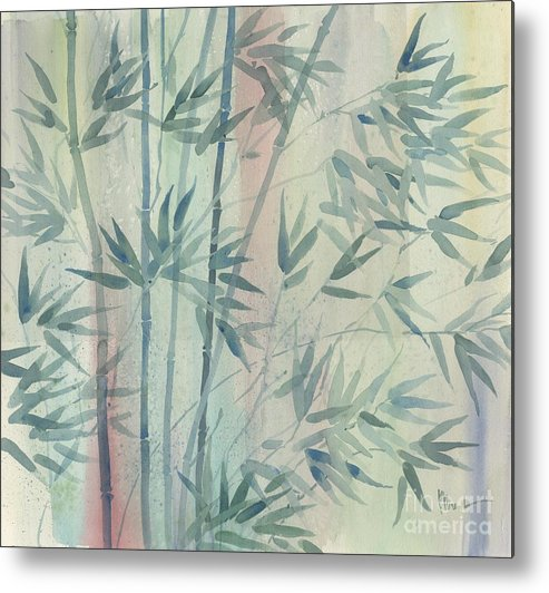 Watercolor Metal Print featuring the painting Rainforest Bamboo by Paul Brent