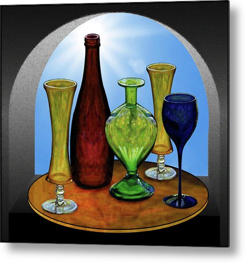 Still Life Metal Print featuring the painting Still Life with Bottles by Hugo Heikenwaelder