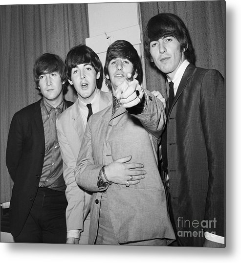 Rock Music Metal Print featuring the photograph The Beatles At The Paramount Theater by Bettmann
