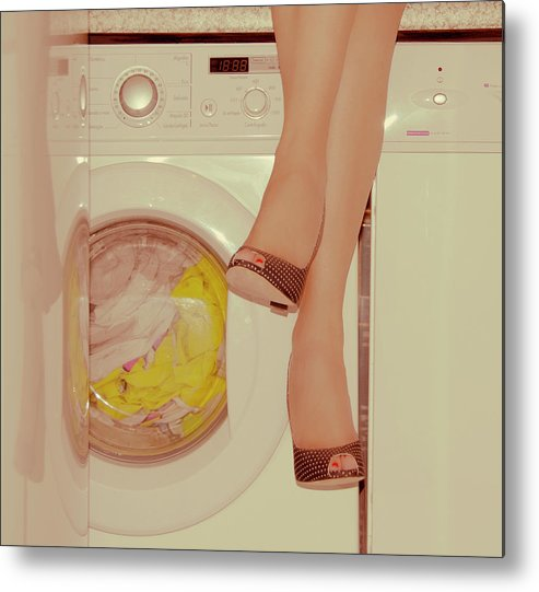 Laundromat Metal Print featuring the photograph Vintage Laundry by © Angie Ravelo Photography