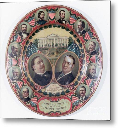 General Sherman Metal Print featuring the photograph William-taft Election Souvenir Plate by Bettmann