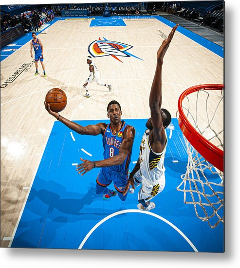 Nba Pro Basketball Metal Print featuring the photograph Indiana Pacers v Oklahoma City Thunder by Zach Beeker
