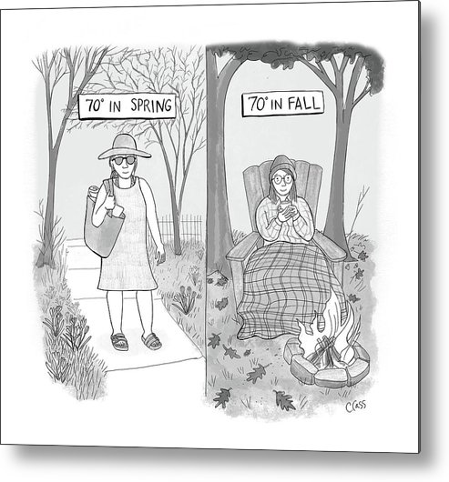 Captionless Metal Print featuring the drawing 70 Degrees Spring Or Fall by Caitlin Cass