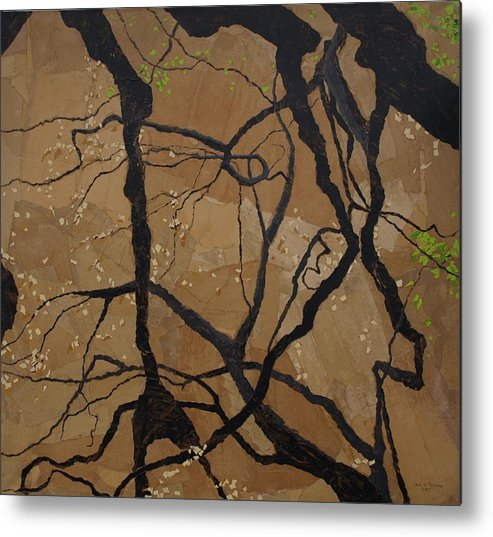 Abstract Tree Branches Metal Print featuring the painting Arboretum Dancers by Leah Tomaino