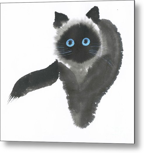 A Dignified Cat With Clear Eyes Is Starring Straight Ahead Intensely. It's A Contemporary Chinese Brush Painting On Rice Paper.  Metal Print featuring the painting Clear-Eye by Mui-Joo Wee