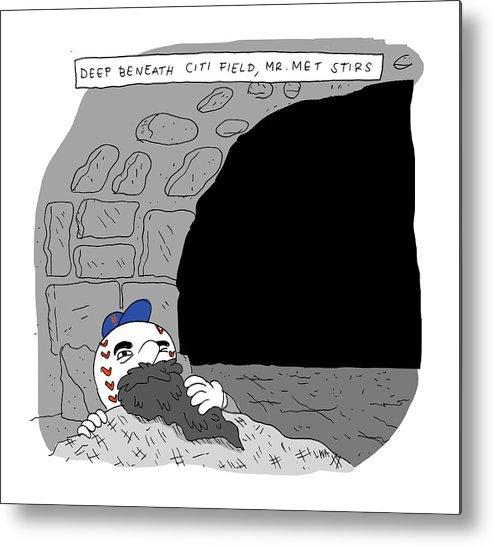 Deep Beneath Citi Field Metal Print featuring the drawing Deep Beneath Citi Field by Lucas Adams