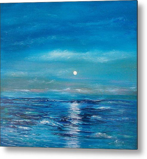 Fukk Moon Seascape Metal Print featuring the painting Full Moon Seascape by Tony Rodriguez