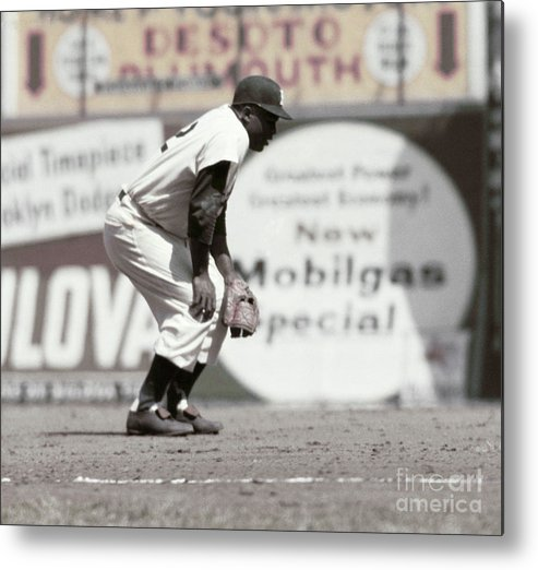 1950-1959 Metal Print featuring the photograph Jackie Robinson by Robert Riger