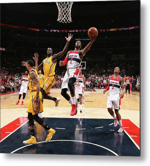 Playoffs Metal Print featuring the photograph John Wall and Lance Stephenson by Ned Dishman