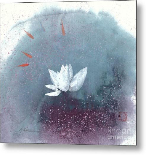 A Brilliant Lotus In A Pond With Delightful Fish. It's A Simple Chinese Brush Painting On Rice Paper. Metal Print featuring the painting White Lotus IV by Mui-Joo Wee