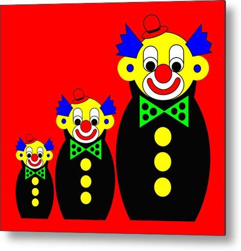 3 Russian Clown Dolls On Red Metal Print featuring the digital art 3 Russian Clown Dolls on red by Asbjorn Lonvig
