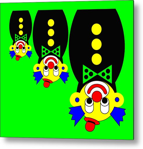 3 Russian Clown Dolls Stand On The Head For You Metal Print featuring the digital art 3 Russian Clown Dolls stand on the head for you by Asbjorn Lonvig