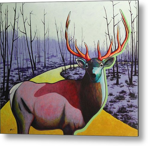 Wildlife In Yellowstone Park Metal Print featuring the painting A Close Encounter in Yellowstone by Joe Triano