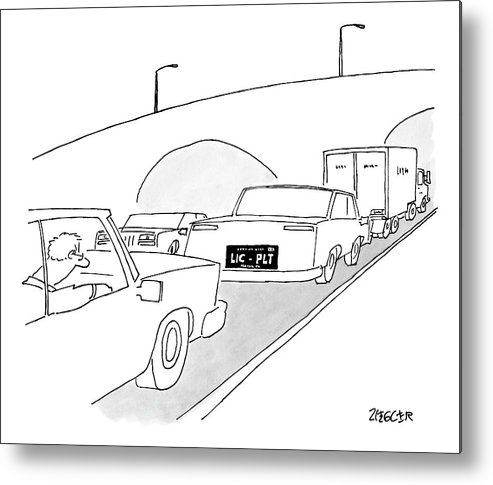 Captionless Metal Print featuring the drawing A License Plate That Reads  Lic-plt by Jack Ziegler
