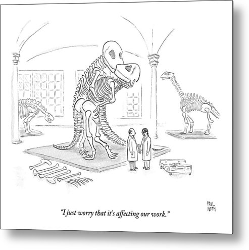 Scientists Metal Print featuring the drawing A Male And Female Paleontologist by Paul Noth