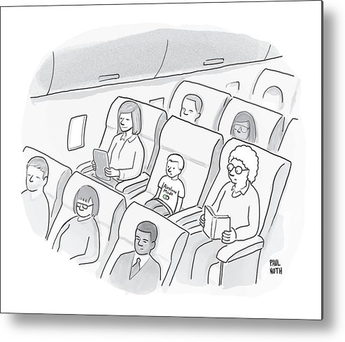 Iphone Metal Print featuring the drawing A Well-behaved Boy On An Airplane Wears A T-shirt by Paul Noth