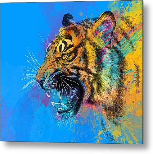 Tiger Metal Print featuring the digital art Crazy Tiger by Olga Shvartsur