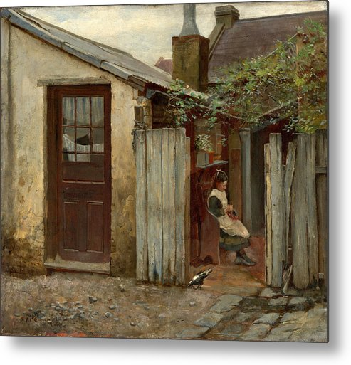 Frederick Mccubbin Metal Print featuring the painting Girl with bird at the King Street bakery by Frederick McCubbin