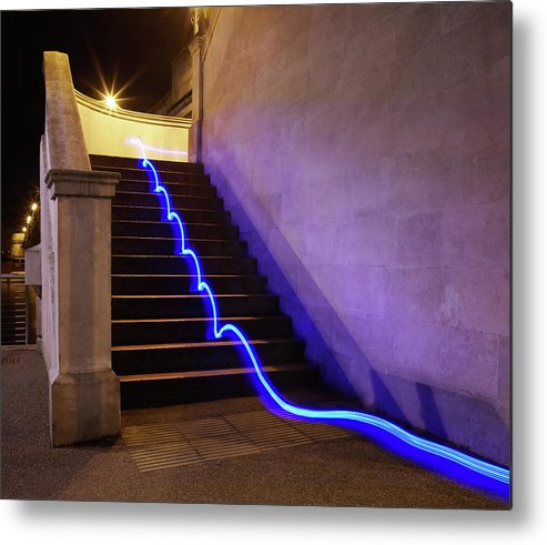 Steps Metal Print featuring the photograph Light Trail On Steps by Tim Robberts