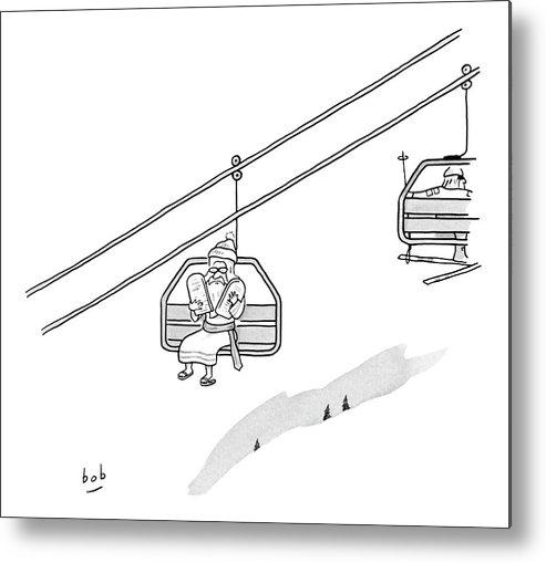 Moses Travels Down A Mountain On A Ski Lift Metal Print By Bob Eckstein
