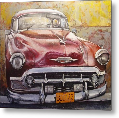 Havana Metal Print featuring the painting Old Cadillac by Tomas Castano