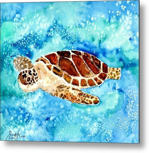 Sea Turtle Metal Print featuring the painting Sea Turtle by Derek Mccrea