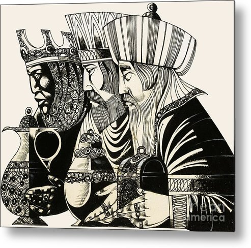 Christmas; Epiphany; Wise Men; Kings; Three Kings; Adoration Of The Magi; Gold; Frankincense; Myrrh; Jesus Christ; Birth; Christ; Religion; Christianity; Three Wise Men; Nativity Metal Print featuring the drawing Three Kings by Richard Hook
