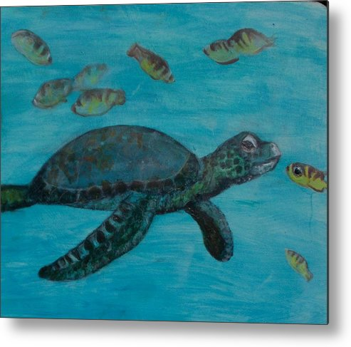 Seascapes Metal Print featuring the painting Under The Sea by Darla Joy Johnson