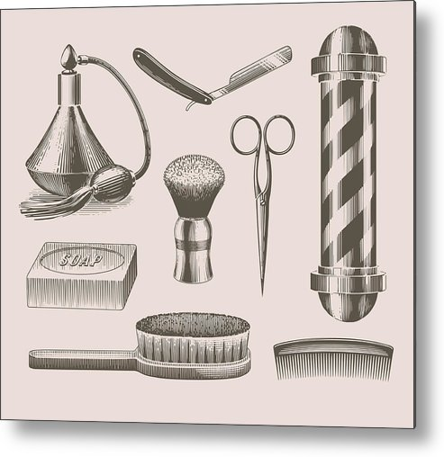 English Culture Metal Print featuring the digital art Vintage Barbershop Objects by Darumo