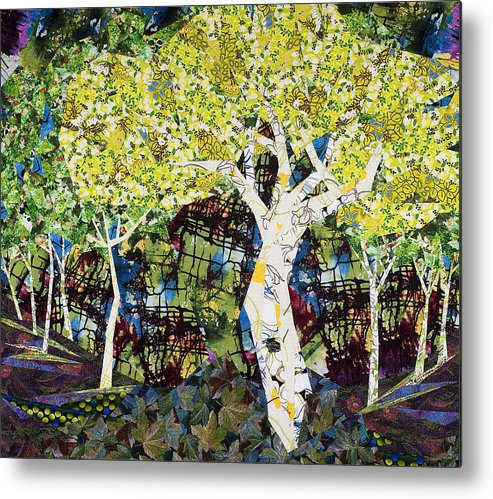 Landscape Metal Print featuring the tapestry - textile White Trees by Linda Beach