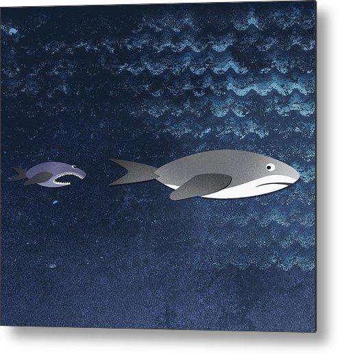 Horizontal Metal Print featuring the digital art A Small Fish Chasing A Shark by Jutta Kuss