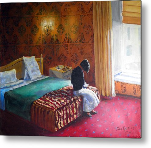 Small Hotel Room Interior Metal Print featuring the painting Relais dei Papi Rome by Dan Bozich