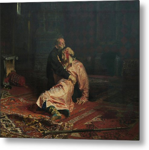 Ilya Repin Metal Print featuring the painting Ivan The Terrible and His Son Ivan on November 16, 1581 by Ilya Repin