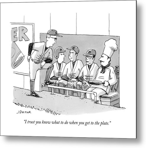Cctk Metal Print featuring the drawing A Coach Is Standing By A Baseball Dugout by Joe Dator