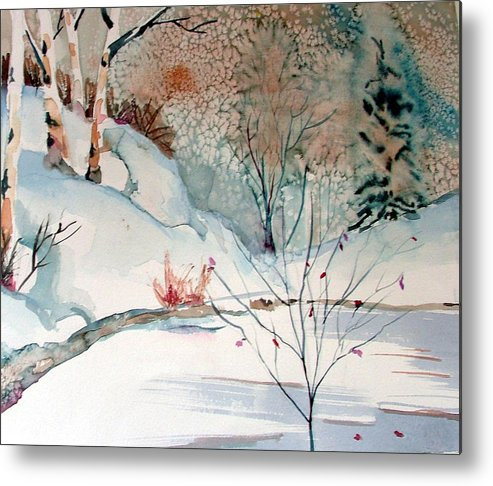Winter Metal Print featuring the painting An Icy Winter by Mindy Newman